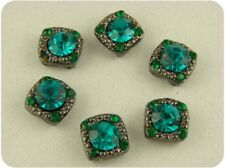 Beads Crystal Gala Blue Zircon & Emerald Swarovski Crystal Elements 2 Hole QTY 6