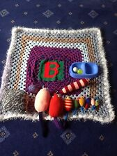 HAND KNITTED BLANKET WITH LETTER B&CATNIP TOY MOUSE SET SOLD FOR WHINNYBANK CATS