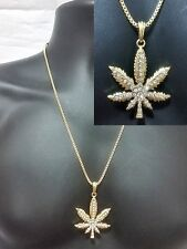 Gold Box Chain Weed Marijuana 2 Piece Necklace Pendant Set Hip Hop Iced Out
