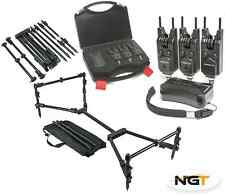 NGT Wireless 3+1 Bite Alarm Set Carp Fishing Snag Bars + NGT Nomadic Rod Pod
