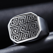 Fashion Mens Cool Punk Style Stainless Steel Band Ring US Size 8 Jewelry