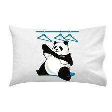 """Outfit"" Funny Panda Bear Trying to Put on Clothes - Single Pillow Case"