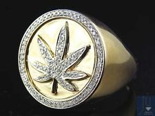 Rare 10K Yellow Gold Genuine Diamond 3D Weed Leaf Emblem 420 Style Ring (.50Ct)