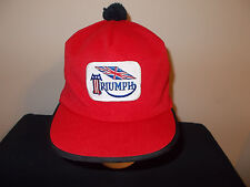 VTG-1980s Triumph Motorcyles Brit Fitted Pom Pom Tassle Size 7 fitted hat sku20