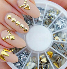 200Pcs 3D New  Metal Nail Art Stickers Tips Fashion Metallic Gold Silver Color