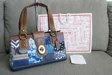 61% OFF! Authentic Coach Signature Denim Patchwork Shoulder Bag Leather Blue