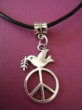 "FREE GIFT ** ANTIQUED SILVER - Dove with Peace Sign And 18"" LEATHER NECKLACE"