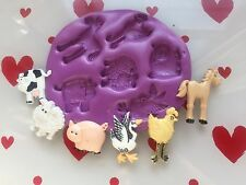 Silicone mould Farm animal mix ( cupcake Topper.Fimo. Crafts.sheep Pig Cow Chick