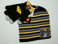 Batman The Lego Movie DC Comics Stripe Knit Cap Hat & Gloves Tags Childs OSFM