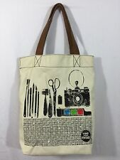 Fossil Long Live Vintage Purse Tote Handbag Canvas Leather Yellow Owl Workshop