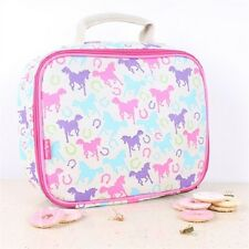Milly Green Playful Ponies Pink Blue Insulated Lunch Bag School Picnic Travel