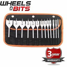 Draper 13 Piece Flat Wood Cutting Drill/Drilling Power Tool Bit Set - 82634