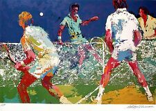 "LEROY NEIMAN BOOK PLATE PRINT ""MEN'S DOUBLES"" TENNIS MATCH FOUR TENNIS PLAYERS"