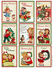 CHRISTMAS RETRO CHILDREN (97) SCRAPBOOK CARD EMBELLISHMENTS HANG/GIFT TAG(S)