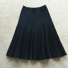 AZZEDINE ALAIA BLACK WOOL BLEND STRETCHY RIBBED MICRO PERFORATED SKIRT XS