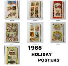 VINTAGE 1965 SCHOOL HOLIDAY POSTER ART -     Lot of 7    - HUGE  22 x 38 inches
