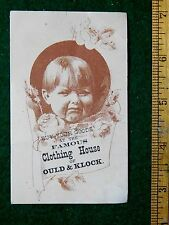 1870s-80s Boy Pouting, Famous Clothing House of Ould & Klock Trade Card F14