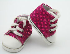 "Pink Sequin Sneakers Shoes Doll Accessories Sport Shoes For 18"" American Girl"
