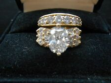 Oval Diamond Engagement Ring and Wedding Band; 14k yellow gold