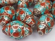 5 X tibetische Korallen Türkis Perlen Tibet Nepal Turquoise Coral brass Beads -B