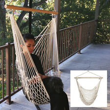 Cotton Rope Hammock Cradle Chair Wood Stretcher Air Swing Beige 200LB Capacity