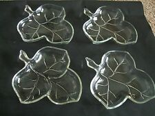 Vintage Clear Glass Plates - Maple Leaf Shaped with Stem - Set of 6