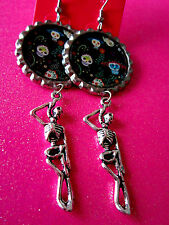 Day Of The Dead Sugar Skull With Skeleton Dangle Charm Earrings #25