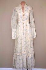 Vtg 60s 70s Gunne Sax Hippie Prairie Boho Corset Lace Sheer Maxi Dress sz S XS