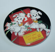 Christmas Poodles In Gift Box Magnet Poodle Dog Vintage Retro Holiday Art