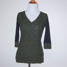 Anthropologie Pilcro Green and Navy Cable Knit Dually Clad Top Size XS
