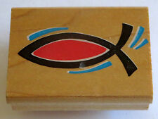 Fish Symbol Rubber Stamp Graphic IXOYE Christian Design GUC Wood Mounted