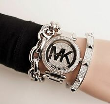 Michael Kors Uhr Damenuhr MK5925 Edelstahl Farbe:Silber Kristall Besatz NEU