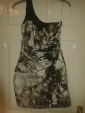 Womens One Shoulder Dress - Lipsy London - Rough Diamond - Silver Black - 10 UK