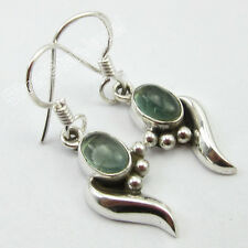 925 Sterling Solid Silver Natural GREEN APATITE WORM Earrings 3.4 CM ONLINE BUY