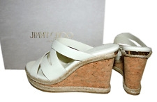 Jimmy Choo Prisma Vachetta Wedge Sandal White Leather Mules Slide Shoe 37.5