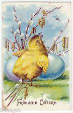 Fröhliche Ostern Küken mit Osterei Weidenkätzchen AK 1910