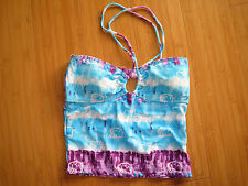 Hello Kitty Swim Suit Separate Bikini Halter Top Tie Dye Brand New purple blue S