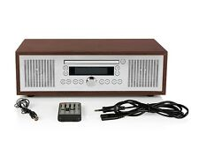 Bluetooth® Stereo Vintage Style CD-player, FM radio tuner, AUX jack, alarm clock