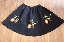 Ancienne jupe - Laine doublée - Fleurs - Baba cool - Vintage