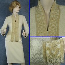 ST JOHN COUTURE SHIMMER KNIT JACKET & SKIRT SUIT SILK LINED DAY/EVENING SZ 8