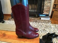 Etienne Aigner Cranberry / Red Leather Boots Womens 9