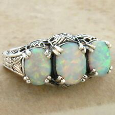WHITE LAB OPAL 925 STERLING SILVER ART DECO ANTIQUE DESIGN RING SZ 7,     #214