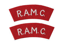 BRITISH ARMY R.A.M.C. SHOULDER TITLES - WW2 REPRO ROYAL MEDICAL CORPS