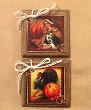 6 WOODEN Handcrafted Thanksgiving Ornaments/FALL Hang Tags/Bowl Fillers Set/5