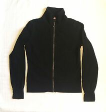 H&M BLACK ZIP HOODED MID WEIGHT COTTON JERSEY JACKET WITH EMBROIDERED BACK SMALL