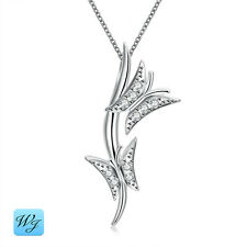 NEW Ladies Girls Silver 2 Two Butterfly Pendant Necklace 925 Sterling S/F Box