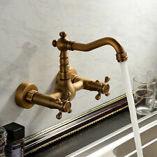 Vintage Antique Brass Wall Mount Bathroom Tub Sink Swivel Faucet Mixer Tap