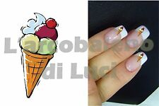 20 AUTOCOLLANTS ONGLES CORNET DE GLACE ICE CREAM MANUCURE NAILS ART STICKERS