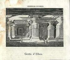Stampa antica ELLORA CAVES Grotte di Ellora India 1841 Old antique print