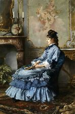 Art Oil painting young noble lady sitting in room wearing blue dress with fan AA